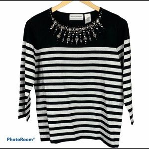 Alfred Dunner Black Silver Beaded Striped Sweater